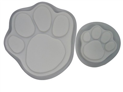 Dog Cat Paw Print 13 and 7 in Stepping Stone Concrete Mold Set 1009