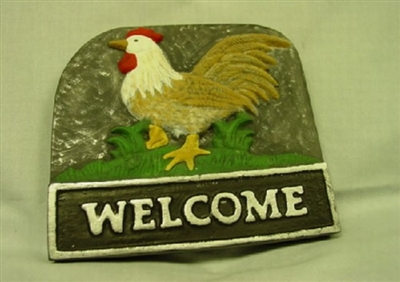 Rooster Welcome Concrete Or Plaster Mold 7054 Moldcreations